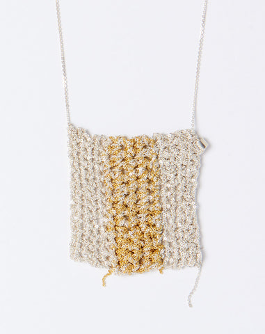 Striped Square Drop Necklace in Silver and Gold