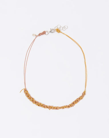 Two Tone Clasped Skinny Necklace in Gold and Rose Gold