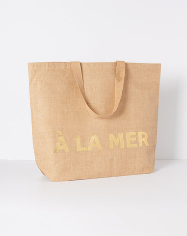 A La Mer Large Jute Beach Bag