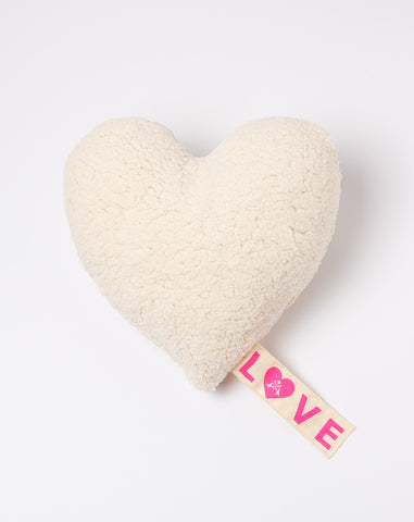 Small Fleece Love Pillow in Ivory