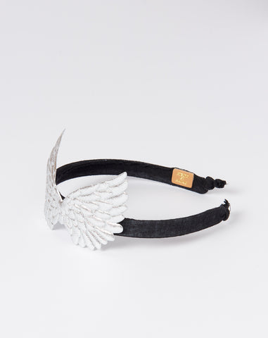 Pegasus Headband in Silver and Black