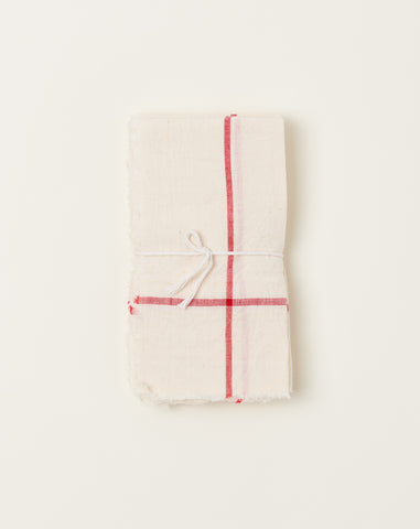 Natural Napkin Set in Red