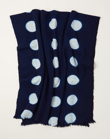 Polka Dot Throw in Indigo