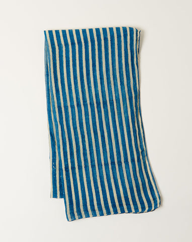 Wide Stripe Scarf in Indigo