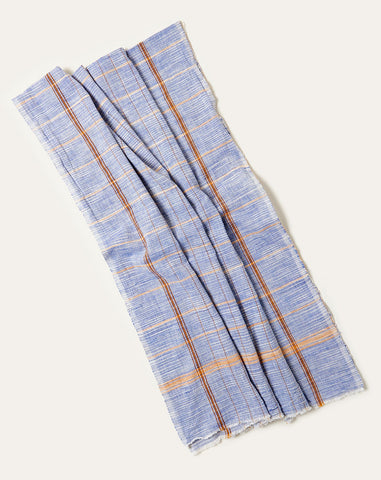Windowpane Towel in Blue and Brown