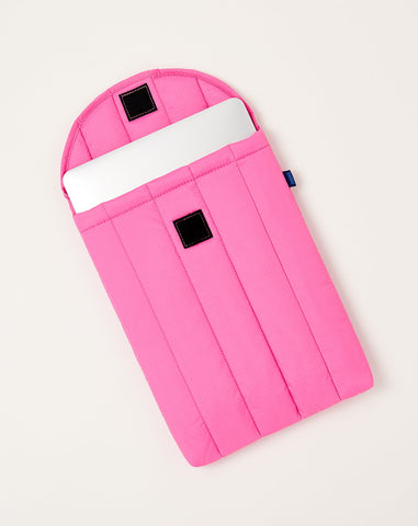Puffy Laptop Sleeve in Bright Pink