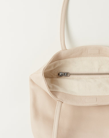 Soft Medium Leather Tote in Stone
