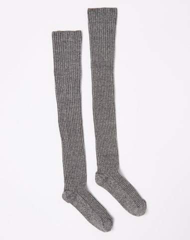 Overknee Socks in Grey Melange