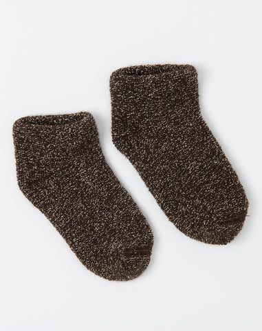 Buckle Silk Ankle Socks in Dark Brown