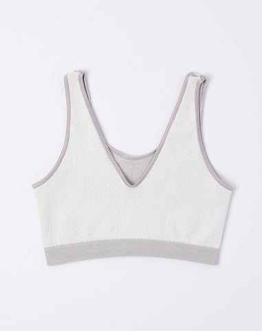 Fine Seamless Scoop Top in Light Grey