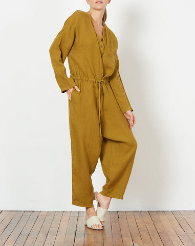 Double V Jumpsuit in Mustard