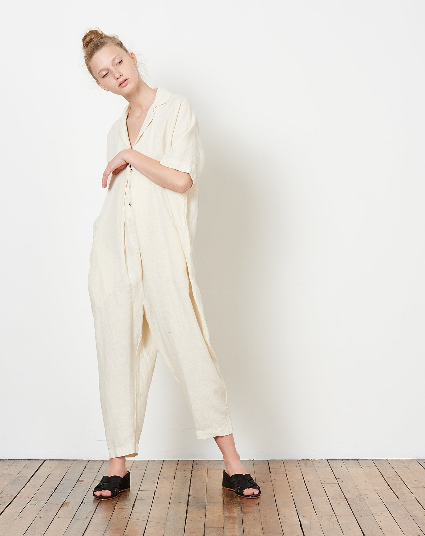 c47529ed9f9 Black Crane Kite Jumpsuit in Cream Black Crane Kite Jumpsuit in Cream ...