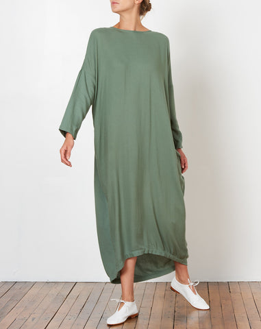 Pleated Cocoon Dress in Agave