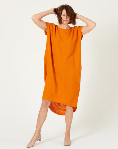 Pleated Cocoon Dress in Orange