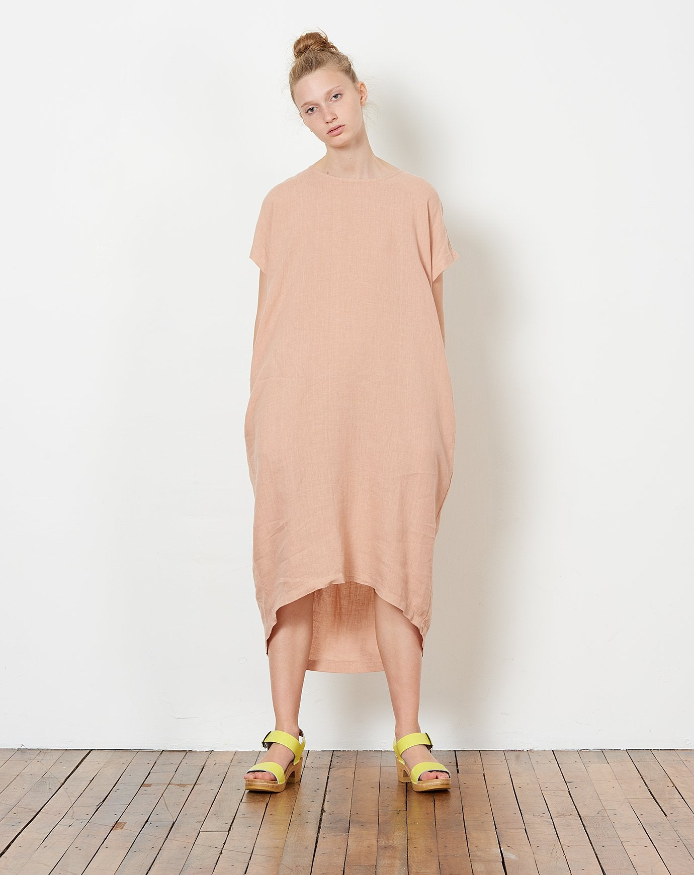 5d99798df96 ... Black Crane Pleated Cocoon Dress in Peach. Black ...