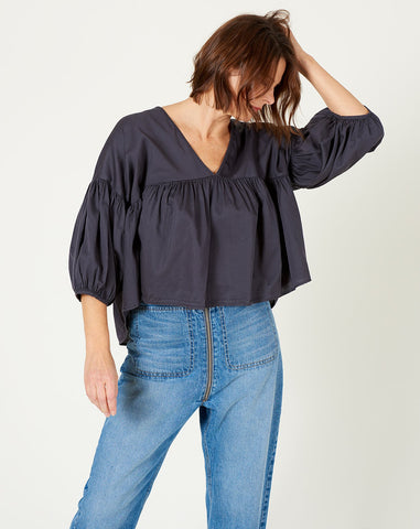 Puff Top in Faded Black