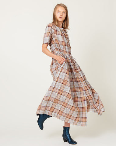 Agatha Shirt Dress in Brown Plaid