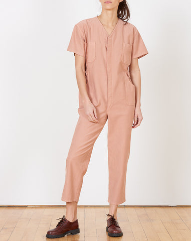 Christine Jumpsuit in Peach Japanese Cotton Twill