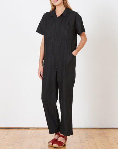 Crawford Jumpsuit in Black Linen Cotton Twill