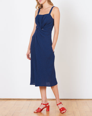 Donna Dress in Navy Cotton Linen Jacquard