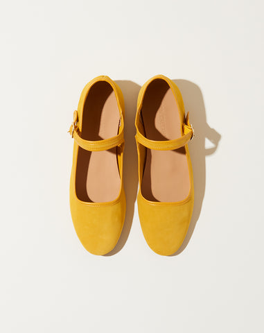 Ellie Mary Jane in Marigold Suede