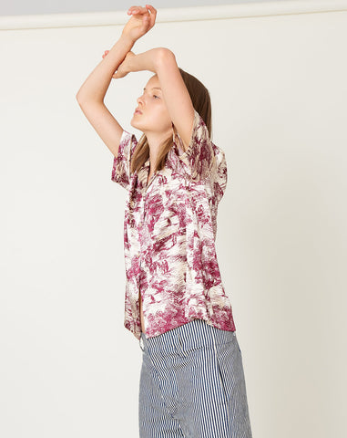 Johan Top in Printed Silk