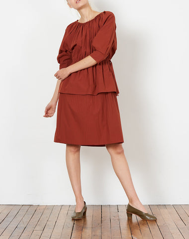 Judith Dress in Rust Cotton Poplin