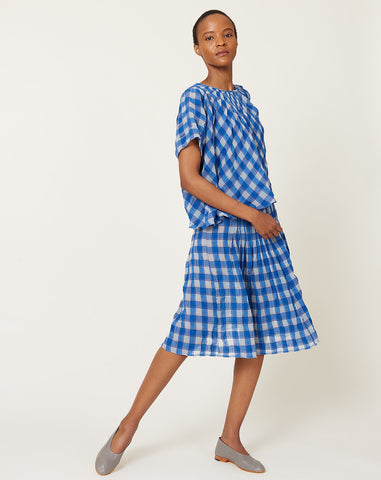 Maartje Dress in Royal Gauze Plaid