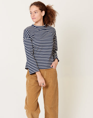 Miles Sweatshirt in Navy Breton Stripe