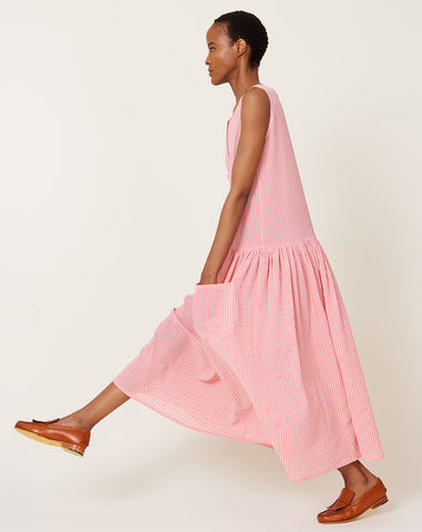 Myrtle Dress in Pink Gauze Stripe