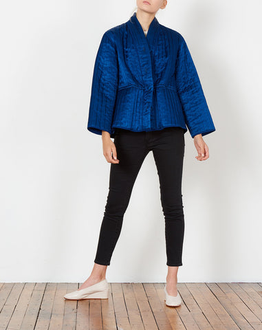 Tao Quilted Jacket in Indigo Satin