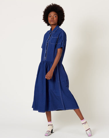 Trista Dress in Indigo Blue