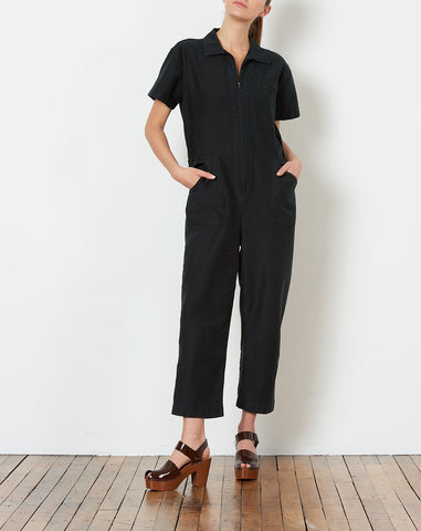 Zip Foster Jumpsuit in Faded Black Cotton Twill