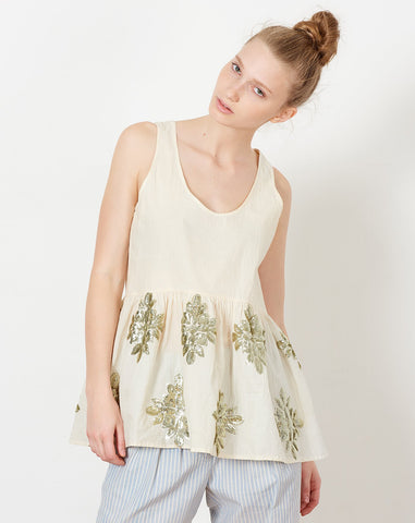 Kate Tank in Muslin Applique