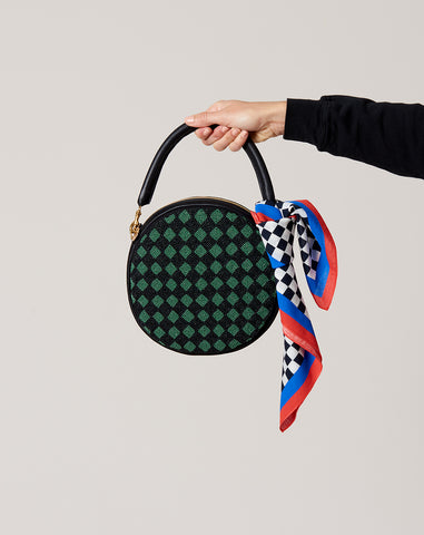 Circle Clutch in Beaded Black and Green Checkers