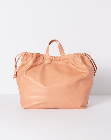 Drawstring Leather Tote in Salmon