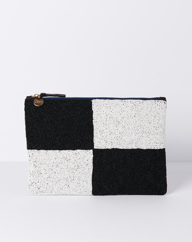 Flat Clutch in Beaded Black and White Colorblock