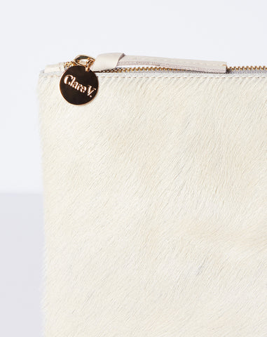 Clare V. Flat Clutch in Cream Hair-On