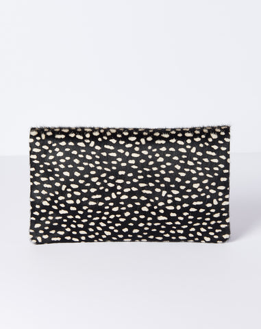 Foldover Clutch Supreme in Black Ladybug and Navy Suede
