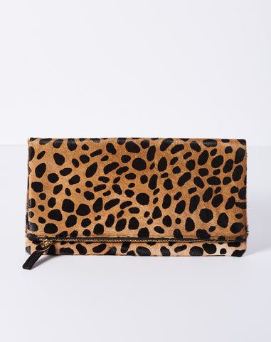 Foldover Clutch in Leopard Calf Hair