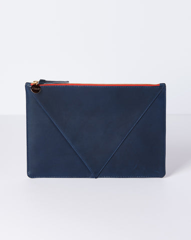 Margot V Flat Clutch Supreme in Navy Veg