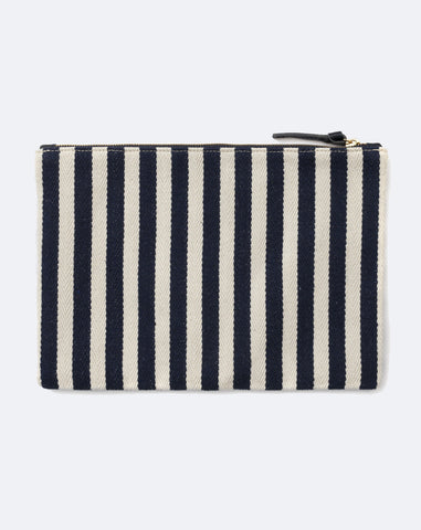 Patchwork V Flat Clutch in Canvas Navy Mariner Stripe