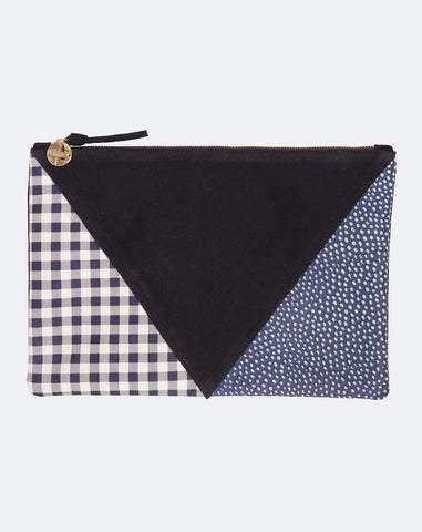Patchwork V Flat Clutch in Dix