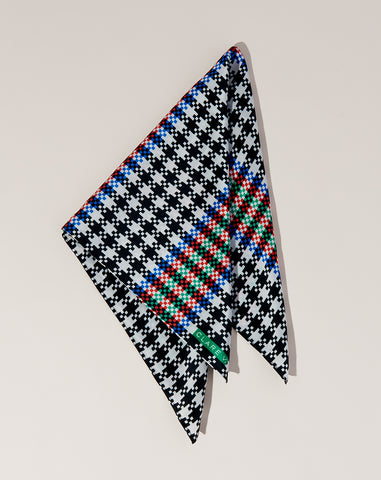 Silk Scarf in Black Houndstooth