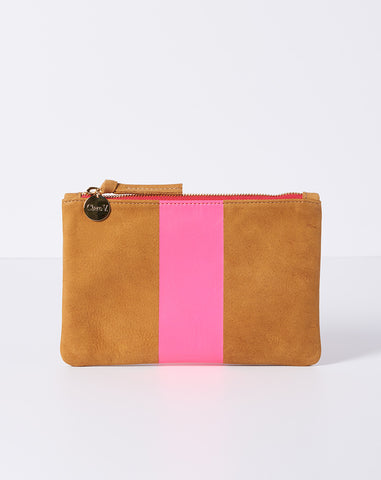 Wallet Clutch in Camel Nubuck with Neon Pink Stripe