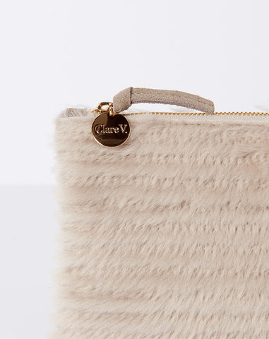 Wallet Clutch in Taupe Shearling