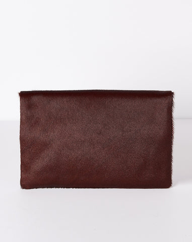 Foldover Clutch Supreme in Oxblood Hair On