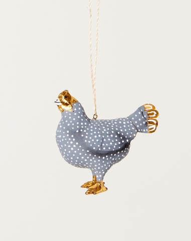 Merriment Hen Ornament in Grey