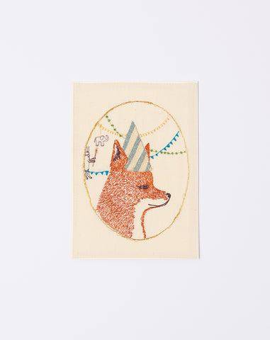 Embroidered Birthday Party Fox Card