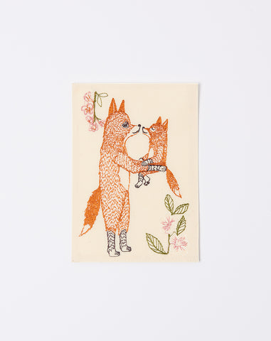 Embroidered Fox Mama Card